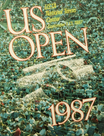 billie: NEW YORK - AUGUST 20  US Open 1987 poster on display at the Billie Jean King National Tennis Center on August 20, 2013 in New York   Editorial