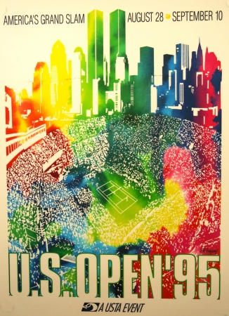 NEW YORK - AUGUST 20  US Open 1995 poster on display at the Billie Jean King National Tennis Center on August 20, 2013 in New York  Editöryel