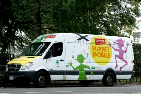 NEW YORK -SEPTEMBER 10 Puppet mobile near Central Park in Manhattan on September 10, 2013  City Parks Foundation offers the oldest continually operating  traveling puppet show City Parks Puppet Mobile