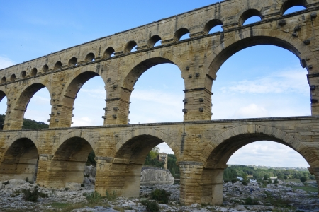 1st century: VERS-PONT-DU-GARD, FRANCE -OCTOBER 13 The Pont du Gard, ancient Roman aqueduct bridge build in the 1st century AD in southern France on October 13, 2013  It is one of France s most popular attractions