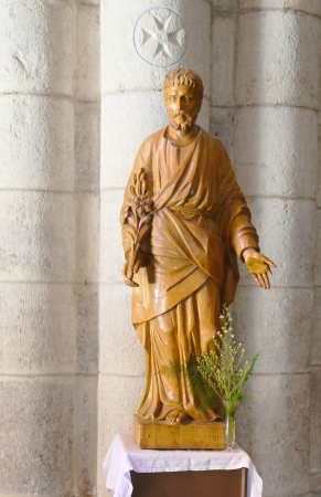 St Joseph statue inside of the Basilica of St-Saveur in Rocamadour, France Stock Photo