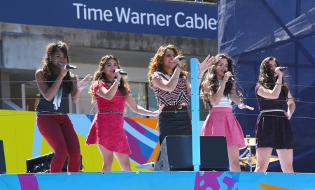 NEW YORK - AUGUST 24   American girl group Fifth Harmony performs at  the Arthur Ashe Kids Day 2013 at Billie Jean King National Tennis Center on August 24, 2013 in New York