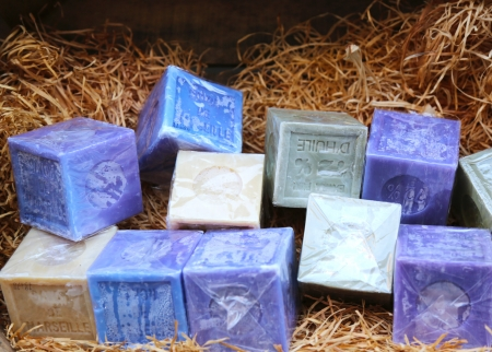 AVIGNON, FRANCE - OCTOBER 11   Natural soap bars in the basket in Avignon on October 13, 2013  Provence is a geographical region and historical province of southeastern France famous for agriculture