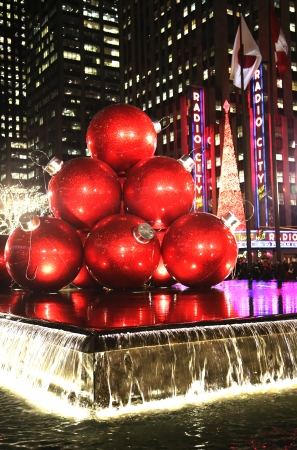 Christmas decorations in Midtown Manhattan near New York City landmark Radio City Music Hall in Rockefeller Center