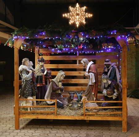 jesus mary joseph: Christmas Nativity Scene with Three Wise Men Presenting Gifts to Baby Jesus, Mary   Joseph