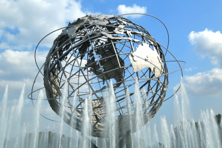 world   s largest: NEW YORK - AUGUST 20 1964 New York World s Fair Unisphere in Flushing Meadows Park on August 20, 2013  It is the world s largest global structure, rising 140 feet and weighing 700,000 pounds  Editorial