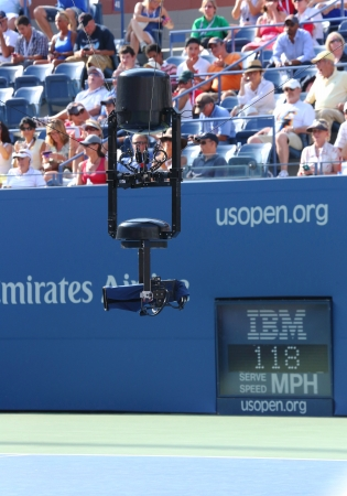 NEW YORK - AUGUST 27  Spidercam aerial camera system used for broadcast from Arthur Ashe Stadium at the Billie Jean King National Tennis Center during US Open 2013 on August 27, 2013 in New York