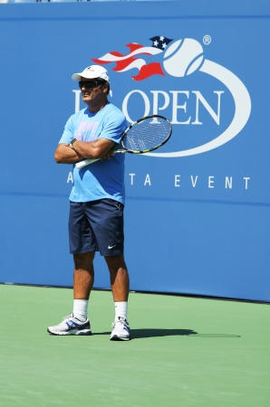 nadal: NEW YORK - AUGUST 25 Tennis coach Toni Nadal during Rafael Nadal practice for US Open 2013 at Arthur Ashe Stadium at Billie Jean King National Tennis Center on August 25, 2013 in New York  Editorial