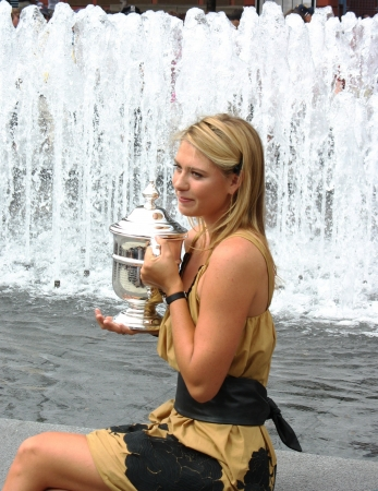 NEW YORK - SEPTEMBER 10  US Open 2006 champion Maria Sharapova holds US Open trophy after her win the ladies singles final on September 10, 2006 in Flushing, New York  Editorial