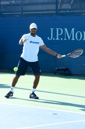 billie: NEW YORK - AUGUST 25 Professional tennis player Donald Young practices for US Open 2013 at Billie Jean King National Tennis Center on August 25, 2013 in New York  Editorial