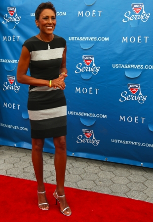 NEW YORK - AUGUST 26 TV anchor Robin Roberts at the red carpet before US Open 2013 opening night ceremony at USTA Billie Jean King National Tennis Center on August 26, 2013 in New York