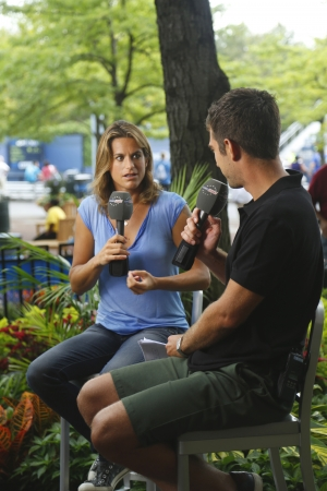 NEW YORK - September 3  French former professional tennis player and a former World No  1 Amelie Mauresmo during interview with Eurosport at US Open 2013  on September 3, 2013 in NY