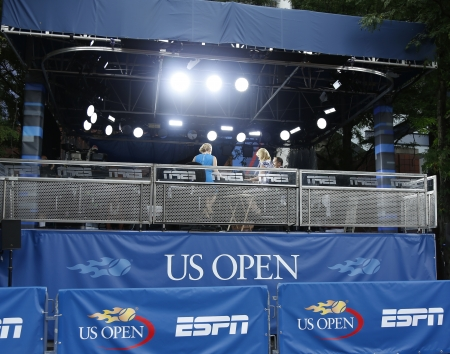 NEW YORK -SEPTEMBER 3  ESPN broadcast station at USTA Billie Jean King National Tennis Center during US Open 2013 on September 3, 2013  ESPN is a US based global cable and satellite television channel