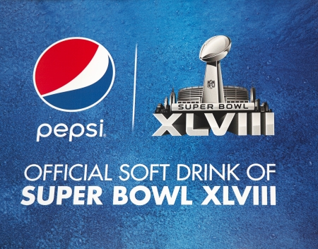 super bowl: NEW YORK - JANUARY 26  Pepsi Official Soft Drink of Super Bowl XLVIII billboard on Broadway during Super Bowl XLVIII week in Manhattan on January 26, 2014 Editorial