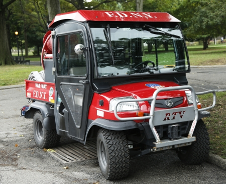 haz: FLUSHING, NY- SEPTEMBER 3  FDNY Haz-Mat Kubota RTV Utility Vehicle near National Tennis Center on September 3, 2013 in Flushing  FDNY is the largest combined Fire and EMS provider in the world  Editorial