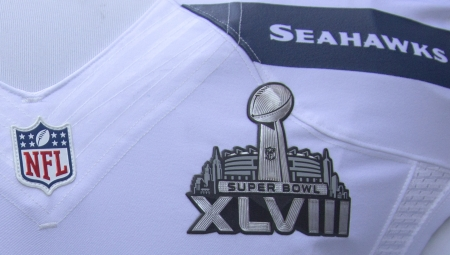 NEW YORK - JANUARY 30  Seattle Seahawks team uniform with Super Bowl XLVIII logo presented during Super Bowl XLVIII week in Manhattan on January 30, 2014  Editorial