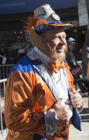 NEW YORK - JANUARY 30  Unidentified Denver Broncos fan during interview with CNN on Broadway during Super Bowl XLVIII week in Manhattan on January 30, 2014