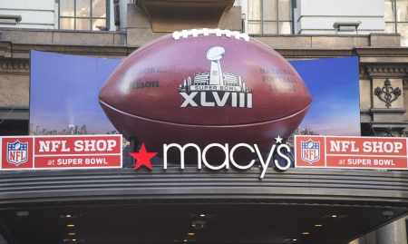 herald: NEW YORK - JANUARY 30  Giant Football at Macy s Herald Square on Broadway during Super Bowl XLVIII week in Manhattan on January 30, 2014  Macy s Herald Square is an official NFL shop at Super Bowl  Editorial