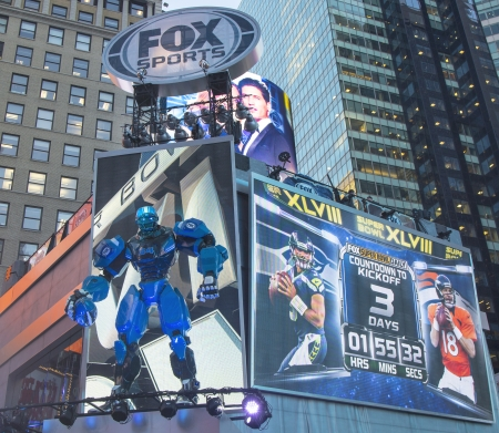 NEW YORK - JANUARY 30  Fox Sports broadcast set on Times Square during Super Bowl XLVIII week in Manhattan on January 30, 2014