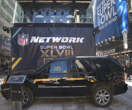 NEW YORK - JANUARY 30  GMC SUV in the front of NFL Network broadcast set on Broadway during Super Bowl XLVIII week in Manhattan on January 30, 2014  Super Bowl Boulevard was engineered by GMC