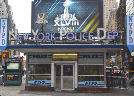 NEW YORK - JANUARY 26  Famous NYPD Times Square Precinct in Midtown Manhattan on January 26, 2014  NYPD ready for Super Bowl XLVIII week festivities in Manhattan