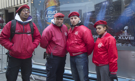 non: NEW YORK - JANUARY 30  The Guardian Angels Patrol on Broadway on January 30, 2014 The Guardian Angels is a non profit international volunteer organization of unarmed citizen crime patrollers