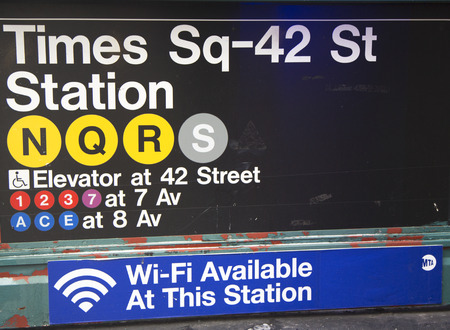 NEW YORK CITY - JANUARY 26  Times Square 42 St Subway Station entrance in NYC on January 26, 2014   Owned by the NYC Transit Authority, the subway system has 469 stations in operation