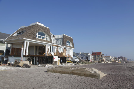 FAR ROCKAWAY, NY - NOVEMBER 11  Destroyed beach houses in the aftermath of Hurricane Sandy on November 11, 2012 in Far Rockaway, NY  Image taken 12 days after Superstorm Sandy hit New York
