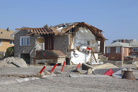 FAR ROCKAWAY, NY - NOVEMBER 11  Destroyed beach house in the aftermath of Hurricane Sandy on November 11, 2012 in Far Rockaway, NY  Image taken 12 days after Superstorm Sandy hit New York Editorial