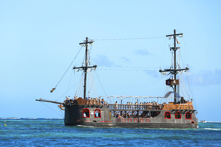 PUNTA CANA, DOMINICAN REPUBLIC - JANUARY 3 Pirate party boat in Punta Cana on January 3, 2014 The Dominican Republic is the most visited destination in the Caribbean