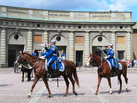 STOCKHOLM, SWEDEN - AUGUST 5  The ceremony of changing the Royal Guard on August 5, 2005  It is the King of Sweden s guard of honor and is responsible for the protection of the Royal Family