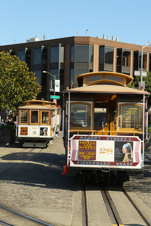 SAN FRANCISCO -MARCH 28  Cable car at Hyde and Beach Terminal on March 28, 2013 in San Francisco The San Francisco cable car is world last permanently manually operated cable car system