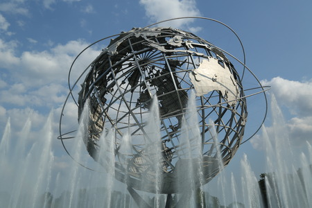 world's: NEW YORK - AUGUST 20 1964 New York World s Fair Unisphere in Flushing Meadows Park on August 20, 2013  It is the world s largest global structure, rising 140 feet and weighing 700,000 pounds  Editorial