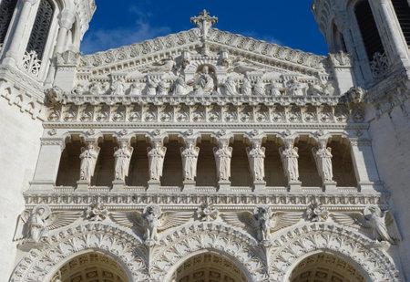 beatification:  The Basilica of Notre-Dame de Fourviere Facade in Lyon