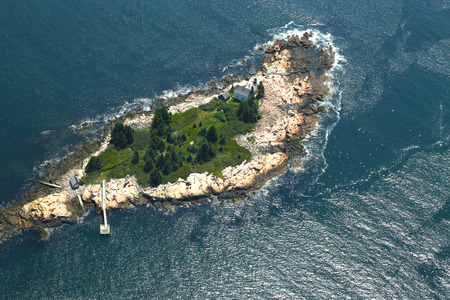 wildlife refuge: Small Island with lighthouse in the Gulf of Maine, Aerial View  Editorial