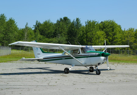 TRENTON, MAINE - JULY 5  Cessna 172P plane in Hancock County Bar Harbor airport on July 5, 2013  Cessna is the most popular light aircraft ever built