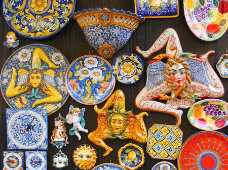 The Trinacria symbol of Sicily and  typical Sicilian glazed ceramic  Stock fotó