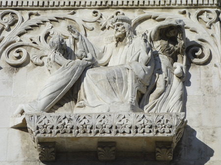 beatification:  The Basilica of Notre-Dame de Fourviere in Lyon architectural detail  The Basilica of Notre-Dame de Fourviere is a minor basilica in Lyon built between 1872 and 1884 Editorial