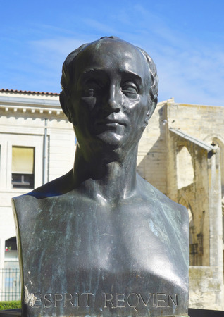 contributions: AVIGNON, FRANCE - OCTOBER 12  Bust of Esprit Requien in Avignon on October 12, 2013  Esprit Requien was a French naturalist, who made contributions in the fields of  paleontology and especially botany
