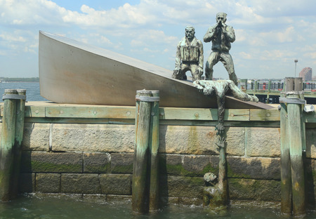 NEW YORK - AUGUST 6  American Merchant Marines  Monument  in Lower Manhattan on August 6, 2013  Memorial designed by the sculptor Marisol Escobar was installed in 1991