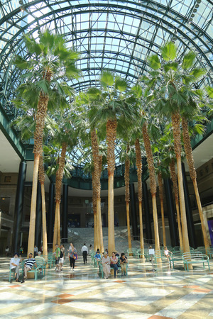 view of an atrium in a building: NEW YORK - AUGUST 6  World Financial Center s Winter Garden  on August 6, 2013  The Winter Garden is a spectacular 3-story barrel-vaulted glass atrium, offering panoramic views in Lower Manhattan