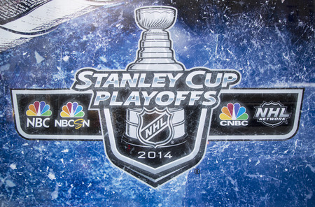 playoffs: NEW YORK CITY - MARCH 20  Stanley Cup Playoffs 2014 logo displayed at the NBC Experience Store window in midtown Manhattan on March 20, 2014
