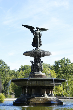 bethesda: NEW YORK - SEPTEMBER 9  Bethesda Fountain with the famous Angel of the Waters statue atop in Central Park on September 9, 2013