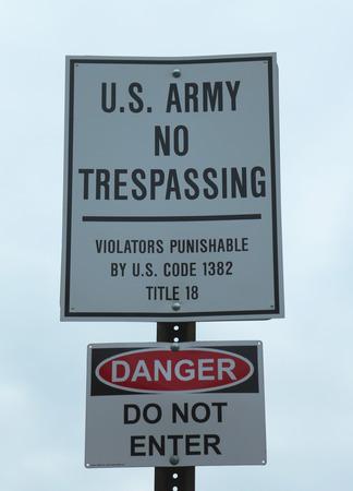 tresspass: U S  Army No Trespassing Sign