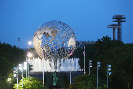 FLUSHING, NY - AUGUST 31 1964 New York World s Fair Unisphere in Flushing Meadows Park on August 31, 2013  It is the world s largest global structure, rising 140 feet and weighing 700,000 pounds