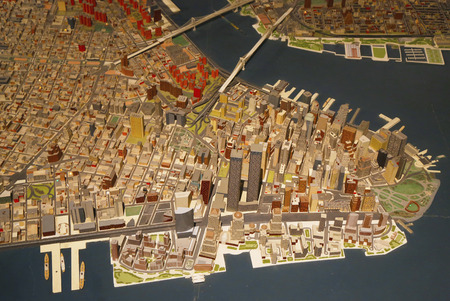 NEW YORK -MARCH 22  Lower Manhattan area at the New York Panorama in Queens Museum on March 22, 2014  Panorama of the City of New York is the jewel in the crown of the collection of the Queens Museum