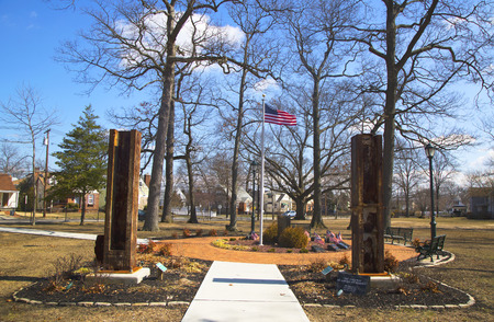 EAST ROCKAWAY, NEW YORK - MARCH 20  September 11 memorial with columns from  World Trade Center site in East Rockway on March 20, 2014