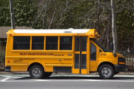 transport scolaire: NEW YORK CITY-MARS bus 20 � l'�cole � New York le 20 Mars, 2014 NYC a le plus grand d�partement de transport scolaire dans le pays