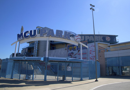 BROOKLYN, NY - MARCH 18  MCU ballpark a minor league baseball stadium in the Coney Island section of Brooklyn, the home team is the New York Mets - affiliated Brooklyn Cyclones on March 18, 2014 Stock Photo - 27094265