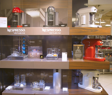 NEW YORK - APRIL1  Variety of Coffee and Espresso machines in Nespresso store in New York on April 1, 2014  Nespresso is an operating unit of the Nestle Group based in Lausanne, Switzerland